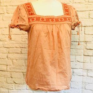 MADEWELL LA villa peasant top pink blouse shirt S